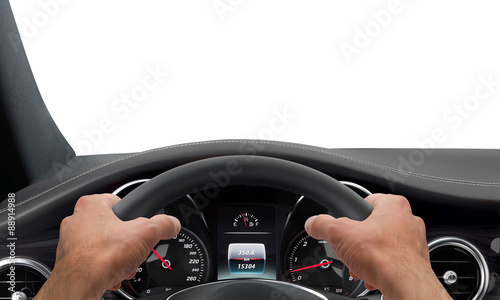 Tablou Canvas Driving hands steering wheel background isolated