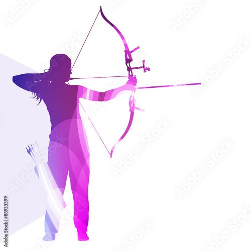 Tableau sur Toile Archer training bow man silhouette illustration vector backgroun