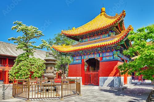 Beautiful View of Yonghegong Lama Temple.Beijing. Lama Temple is Fototapeta