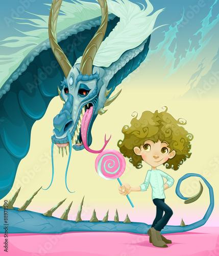 Friendship between boy and dragon #88978590