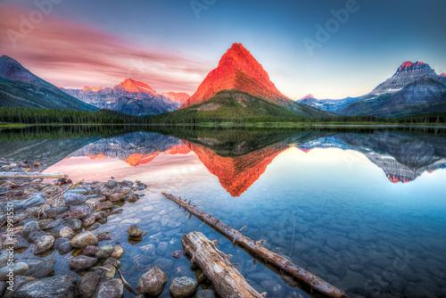 Stampa su Tela Swiftcurrent Lake at Dawn
