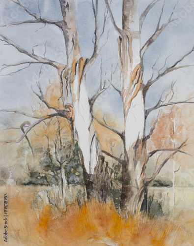 oryginalna-akwarela-drzewa-w-lesie-zima