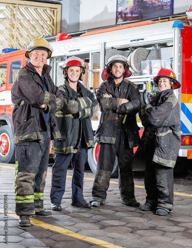 Valokuvatapetti Confident Firefighters Standing Arms Crossed