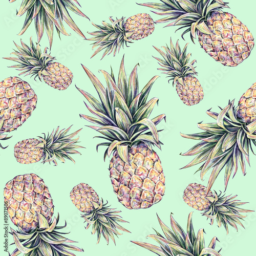 Pineapples on a light green background. Watercolor colourful illustration. Tropical fruit. Seamless pattern
