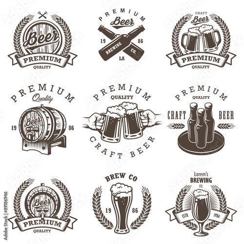 Set of vintage beer brewery emblems Fototapeta