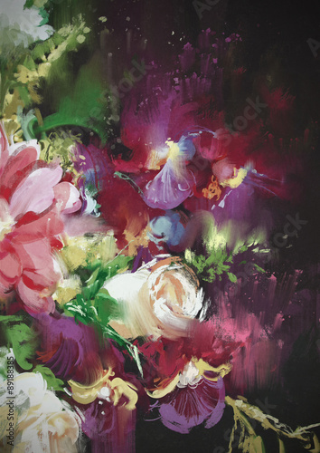bouquet flowers on dark background in oil painting style,illustration