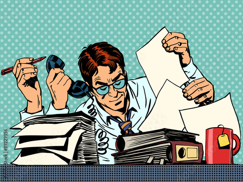 Fotografie, Obraz Businessman working papers