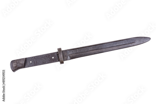 Canvas Print Old bayonet on a white background