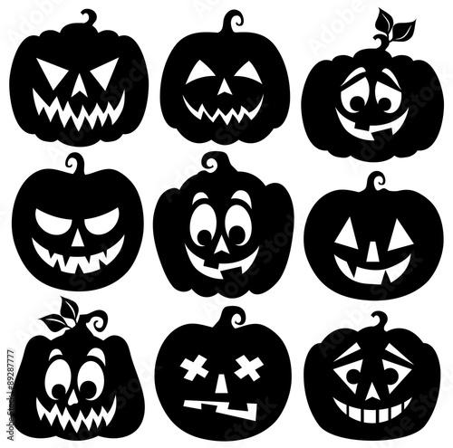 Photo Pumpkin silhouettes theme set 1