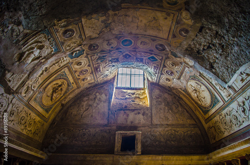 Wallpaper Mural hole in the ceiling of an ancient spa in the complex of pompeii city ruins near naples