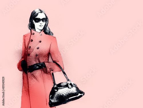 fashion illustration . woman in a coat. autumn look. watercolor painting.