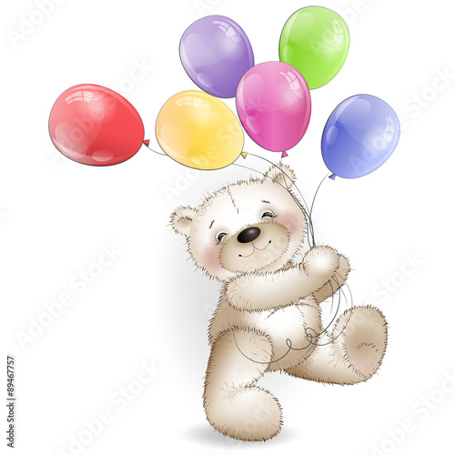 Funny Teddy bear comes with colored balloons #89467757