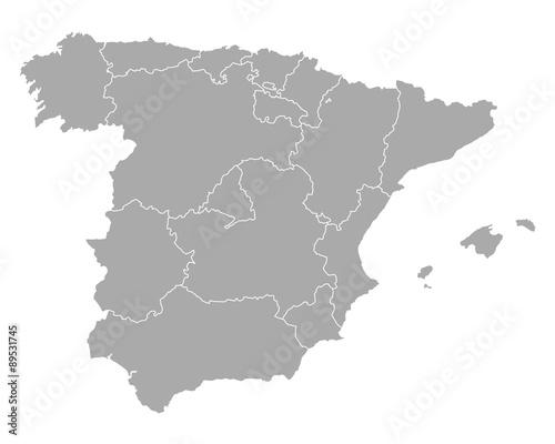 Wallpaper Mural Karte von Spanien