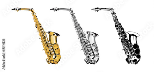 Photo Vector Illustration saxophone isolated object on a white background, three kinds of golden, saxophone in shades of gray and a saxophone in a black contour