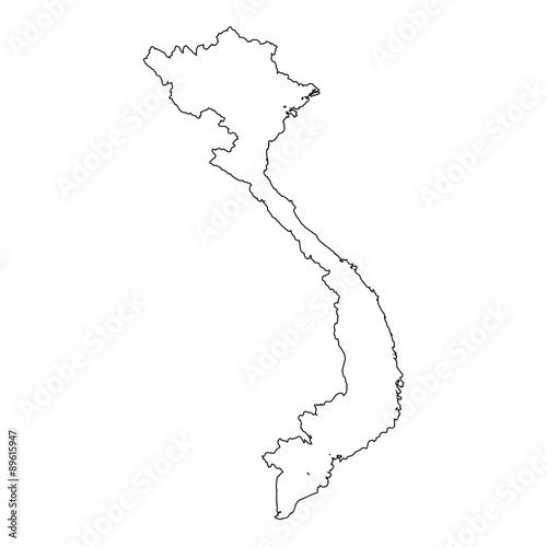 Wallpaper Mural High detailed Outline of the country of  Vietnam