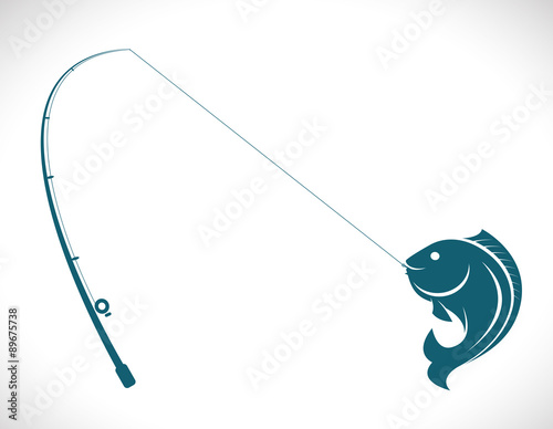 Leinwand Poster Vector images of fishing rod and fish on white background