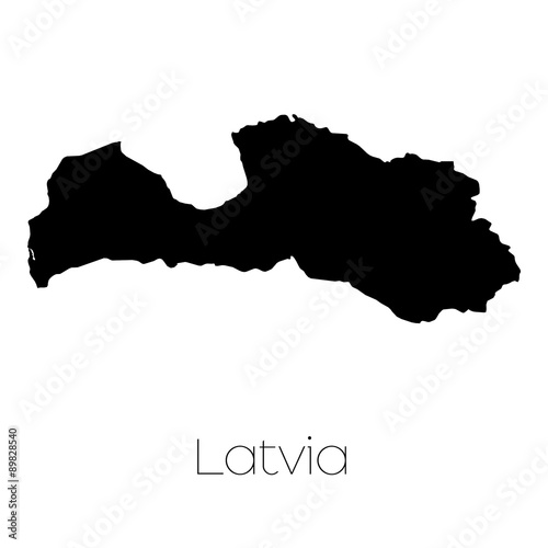 Wallpaper Mural Country Shape isolated on background of the country of Latvia