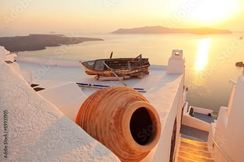 Canvas Print Old boat in Firostefani, Santorini