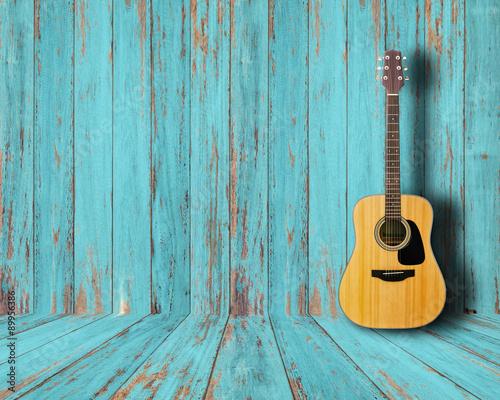 Carta da parati Guitar in vintage wood room.