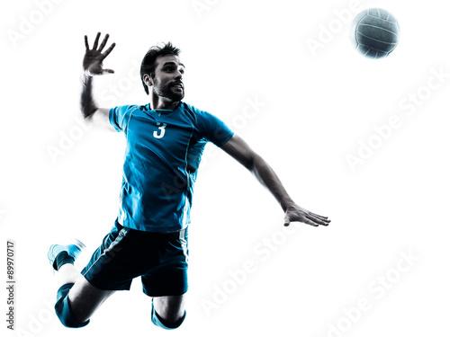 Fototapeta Muž volejbalové skákání silueta