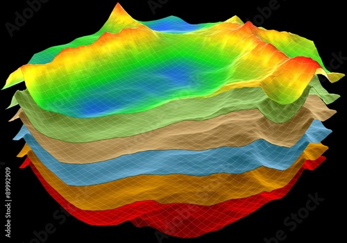 Canvastavla abstract terrain, geology cut layers scheme, 3d render isolated on black