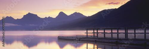 Canvas Print Boat dock at Lake McDonald, Glacier National Park, Montana
