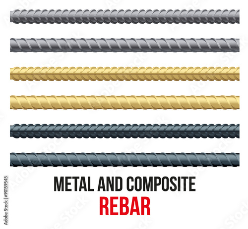 Fotografia Endless rebars. Reinforcement steel and composite.