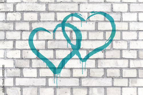 Fotografering Graffiti Hearts rendered on a wall background