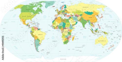 World Map - highly detailed vector illustration. Fototapeta