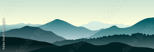 Mountain landscape in the summer morning. Horizontal vector illustration.
