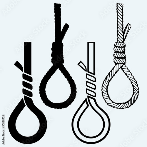 Slika na platnu Rope noose with hangman's knot. Isolated on blue background