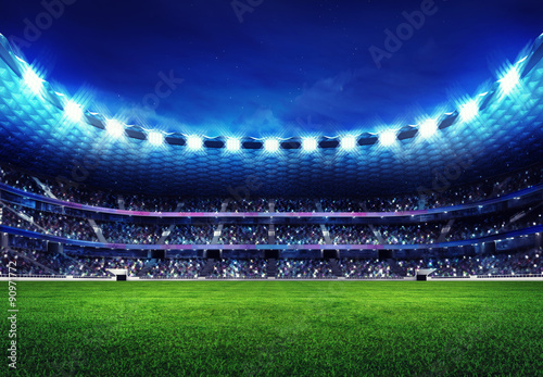 Wallpaper Mural modern football stadium with fans in the stands