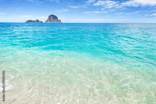 White sand beach and clear blue water, Ibiza, Spain