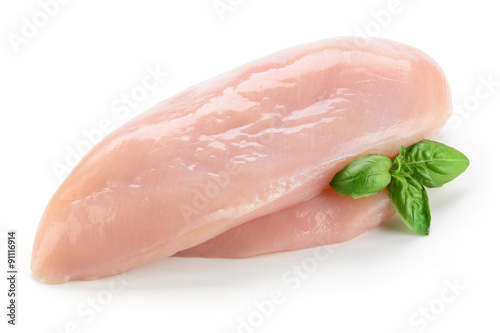 Canvas Print Raw chicken fillet with basil isolated on white