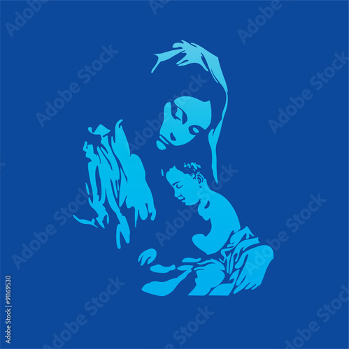 Mother Mary with Jesus Christ in blue Fototapeta