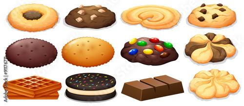 Leinwand Poster Cookies and chocolate bar