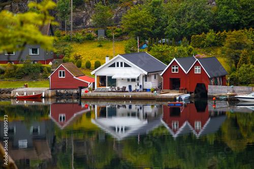 traditional norwegian wooden house #91309573