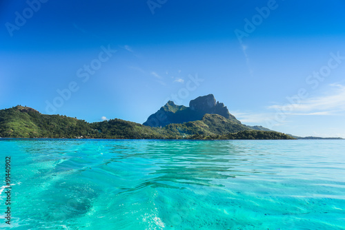 Fotografia, Obraz Paesaggio mare e montagna isola Bora Bora