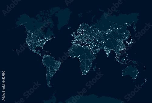 Obraz premium Mapa sieci komunikacyjnej świata