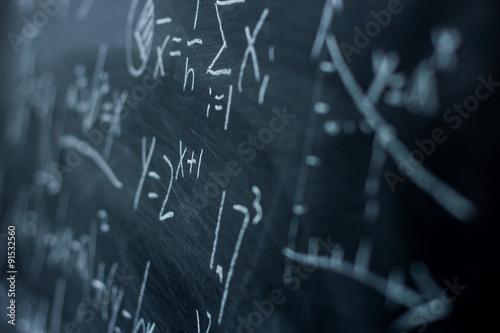Photo Maths formulas on chalkboard background