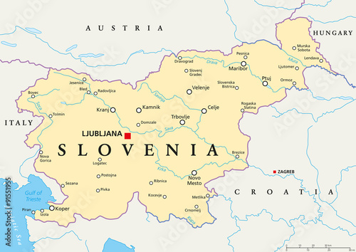 Photo Slovenia political map with capital Ljubljana, national borders, important cities, rivers and lakes
