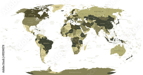 Detailed World Map in camouflage colors Fototapeta