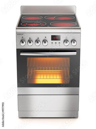 Fotografija Kitchen electric stove isolated on white background 3d