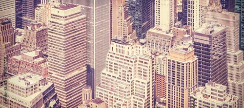 Retro vintage toned panoramic picture of Manhattan, New York. #91814748