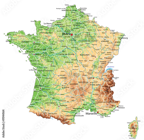 High detailed France physical map with labeling. Fototapeta