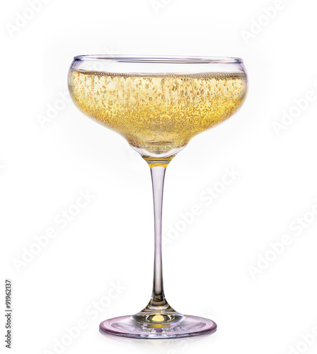 Fényképezés Glass of champagne isolated on a white
