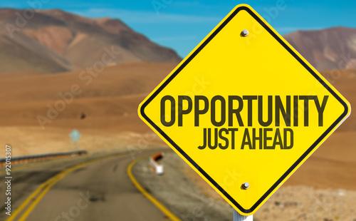 Obraz na plátne Opportunity Just Ahead sign on desert road