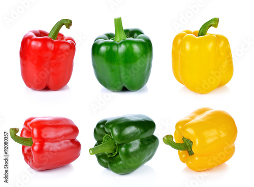 Fotografie, Tablou red green yellow pepper on white background