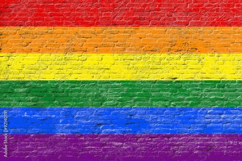 Valokuvatapetti Lgbt flag on Brick wall