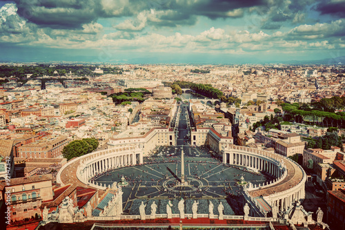 St. Peter's Square, Piazza San Pietro in Vatican City. Rome, Italy in the background